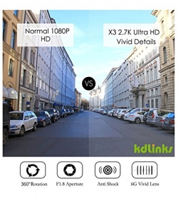 [2018 New Model] KDLINKS X3 2.7K Super HD 2688x1520 Wide Angle Dashboard Car DVR Vehicle Dash Cam with G-Sensor & WDR Night Mode & Loop Recording, Support 64/128GB - 2
