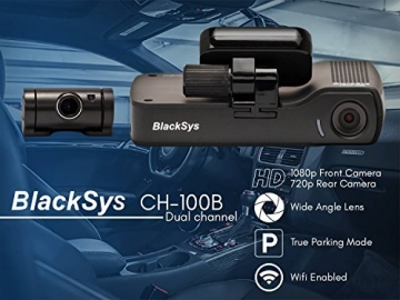 BlackSys CH-100B 2 Channel 1080P FULL HD Front and Rear Pro Wide Angle Dashboard Recorder | Dash Cam With G-Sensor + Up to 128gb Memory | Car Parking Mode | Wifi App - 2