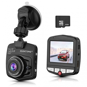 "ssontong Dash Cam, Mini Car Dashboard Camera, Full HD 1080P 2.31"" Screen 140 Degree Wide Angle Lens Vehicle On-Dash Video Recorder with G-Sensor,Parking Monitoring,Recording and 16GB SD Card Included - 1"